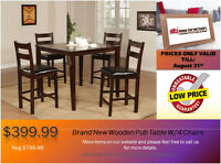 ◆Brand New 5 Pcs Solid Wood Pub Table Set@New Direction◆ON SALE