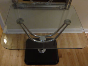 "Reduced!  ""Mid Century Modern"" Glass/Chrome/Wood Accent Table"