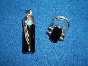 Black Onyx and Turquoise Matching Silver Pendant & Ring Set