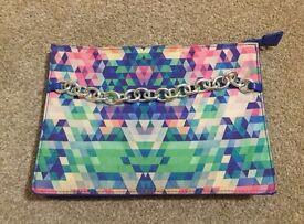 Justfab Clutch Bag Multi coloured Geometric Pattern Print Silver Chain
