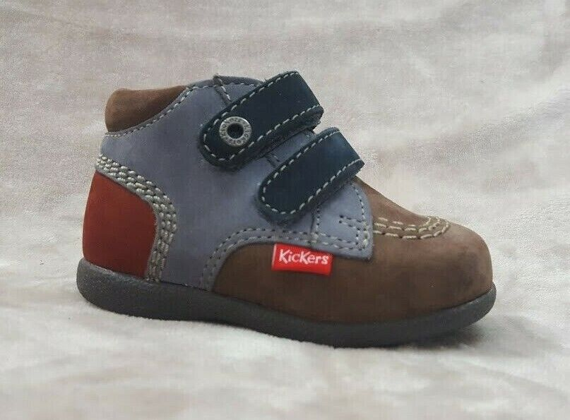 New $80 KICKERS Shoes Boots Baby Girls Boys Gray LEATHER Size 5 USA//21 EURO//4 UK