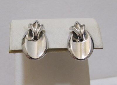 Vtg CORO Shiny Silver Tone Concave Oval Disk Earrings w Stylized Fleur de Lis