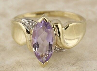 Secondhand 9ct Yellow Gold Marquise Cut Amethyst Solitaire Ring Size N 1/2
