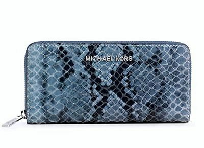 NWT MICHAEL KORS Bedford Continental Python-Embossed Wallet Denim 32H3MBFZ1E