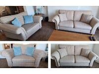 Next Gosford Natural Plain 3 seater Sofa & Gosford Natural Check Snuggle Seat