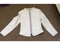 White Leather Jacket - small - excellent condition.