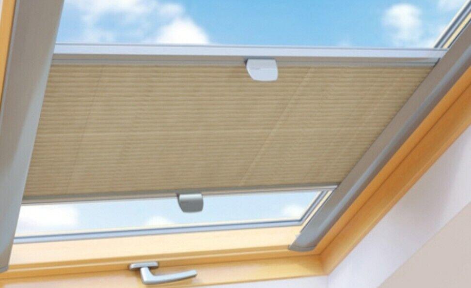 Sonnenschutz für Velux Dachfenster  Faltrollo mit Schienen Plissee Jalousie