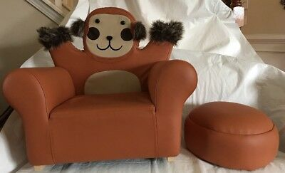 Plush Monkey Child Cushioned Chair Rocker & Footrest NWOT Brown Faux Fur - Rocker Child