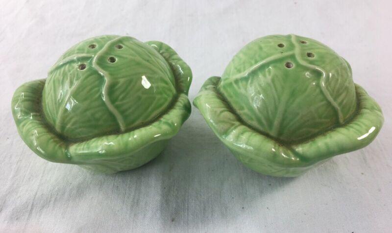 Vintage Cabbage Salt and Pepper Shakers Green Majolica Ceramic Lettuce