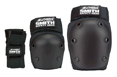 Smith Safety Gear SCABS STARTER Skateboard WRIST KNEE ELBOW Pad SET BLACK LARGE