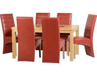 """Wexford 59"""" Dining Table With 6 Rustic Red Leather Dining Chairs"""