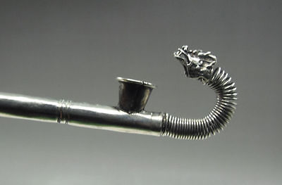 Chinese Collectible Old Tibetan Silver Handwork carved Dragon Smoking Tool pipe