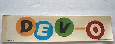 "Vintage Retro Authentic Genuine RARE 1980 DEVO Unused Bumper 12"" X 3"" Sticker"