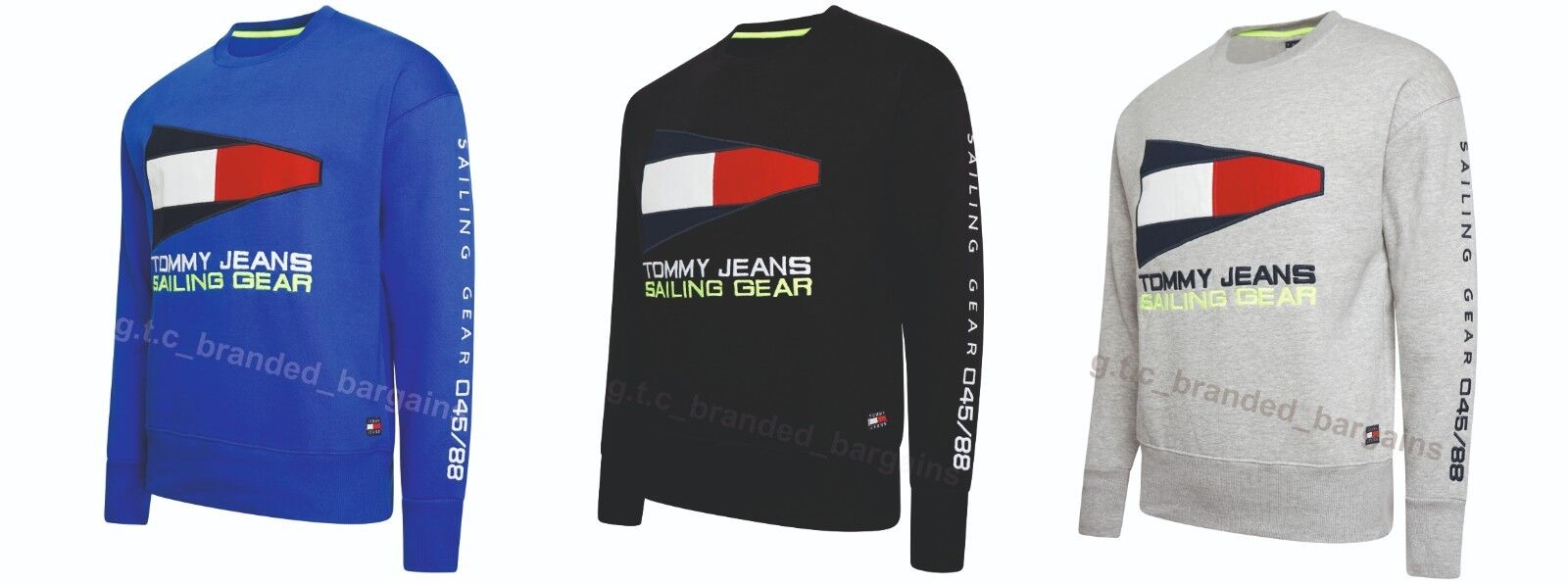 ebe52cab Details about Tommy Hilfiger Sailing Gear 90s Jeans Logo Sweatshirt Black  Grey Royal SMLXL