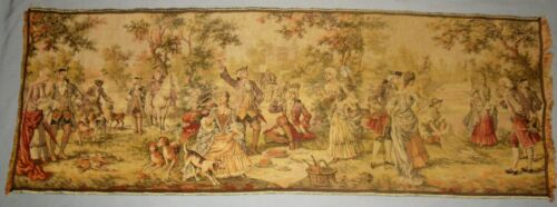 """ANTIQUE VICTORIAN HAND WOVEN FRENCH TAPESTRY MADE IN BELGIUM 54"""" X 19"""" CA 1920"""