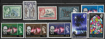 Solomon Islands, 10 different, between #67 and #203, Issued 1939-1969