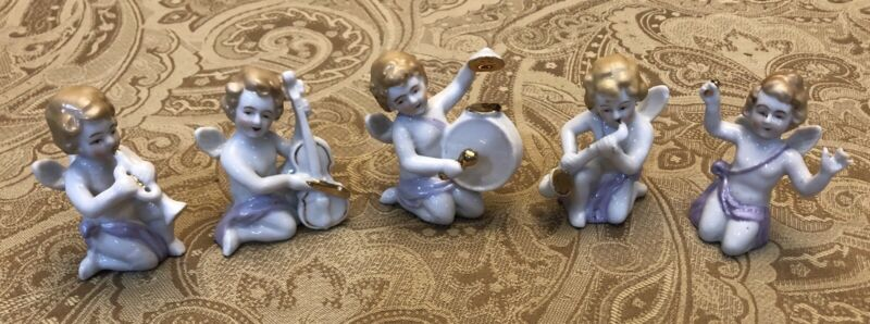 Vintage 1940-50 5pc Set Japan Cherub Angel Porcelain Heavenly Orchestra Band