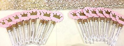 Pink and Gold Princess Party/ Baby Shower/ Bubble Wands Party Favor SET OF - Princess Baby Shower Party Favors