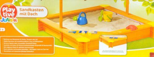 PLAYTIVE® JUNIOR Sandkaste mit Dach Fichtenholz Holz Plane Sandkiste Sandbox NEU