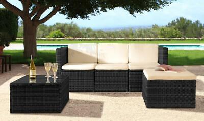 Rattan Garden Patio Furniture Outdoor 3pc Set - Sofa, Footstool & Coffee Table