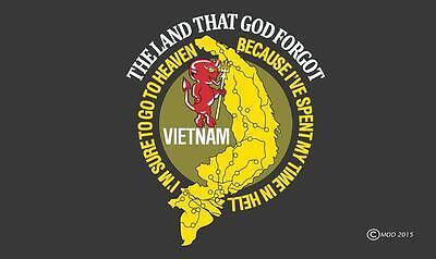 VIETNAM VET LAND GOD FORGOT 3 X 5  FLAG banner FL685 military VETERAN TIME HELL