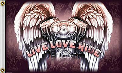 ENGINE ANGEL WINGS LIVE LOVE RIDE 3 X 5 MOTORCYCLE DELUXE BIKER FLAG #442 NEW