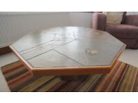 Coffee Table Slate effect Hexagon shape inlay coins