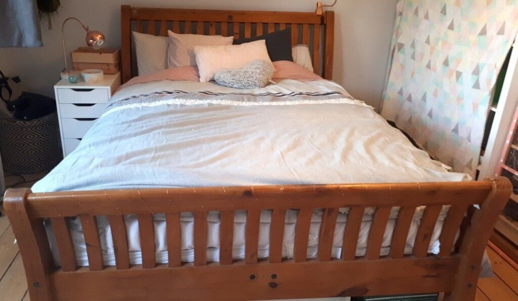 Quick Sale Kingsize Bed Frame Sleigh Bed In Reclaimed Wood Free
