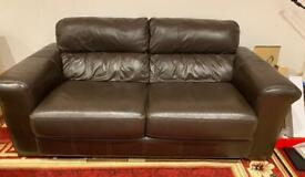 2 & 3 seater brown leather sofas and pouffee