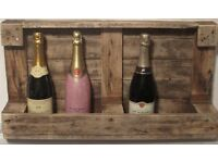 Small reclaimed wooden wine rack