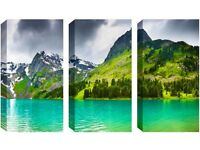 3 Panel Canvas -Beautiful Green Mountains - Reduced from £70.00 to clear BRAND NEW