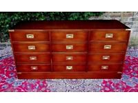 SPECTACULAR VINTAGE MILITARY CAMPAIGN MAHOGANY BRASS FILING CABINET CHEST SOLD FOR A NURSES CHARITY