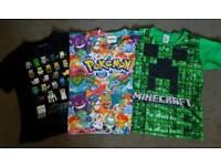 Kids Minecraft & Pokemon t-shirts, age 10