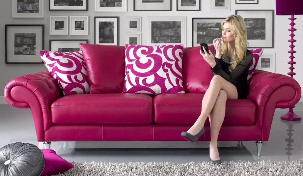 Pink Sofology Burlesque Leather 3 And 2 Seater Sofas Ter Back Cushions Chrome Tapered