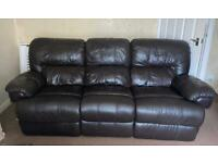 Brown leather recliner 3 seater sofa