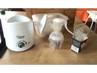Tommee tippee breast pump, bottle warmer and accessories