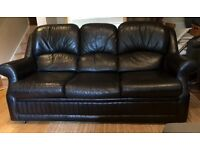 3 seater black leather sofa - used condition