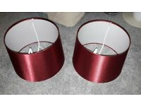 Pair of deep red lampshades
