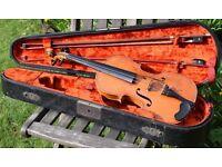 """Antique Violin Internal Label """"Giovanni Pistucci Napoli 1879"""" In Original Coffin Case With Two Bows,"""