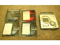 Sharp MD-MT80 Personal MiniDisc Player with 4 x BLANK Minidiscs FULLY WORKING