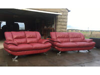 Harveys 3+2 dark red leather couches DELIVERY AVAILABLE
