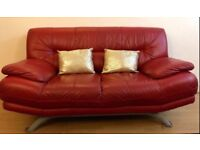 Red leather sofa for sale