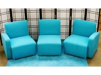 Office reception seating, modular sofa units (blue)