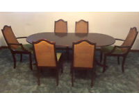 Meredew Mahogany Table 6 Matching Chairs Dark Wood Extendable Dining Carvers