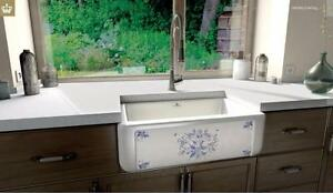 """Hand-decorated"" Chambord Fireclay 31"" Apron Single Sink - Henri II Le Grand - Moustiers"