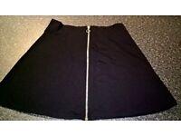 Black Zip front A line mini skirt
