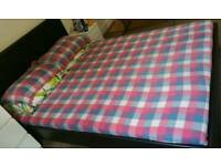 King size leather bed with memory foam matress