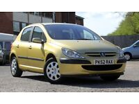 2003 PEUGEOT 307 1.4 LX, 62800 MILES, 9 MONTHS MOT WITH NO ADVISORIES, REALLY GOOD CONDITION.