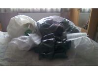 Different packing materials and including bubble wrap, flat sheets, and air pouches.