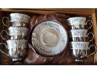 NEW PORCELAIN 12PC CHINA TEA / COFFEE SET SILVER DESIGNER PRINT